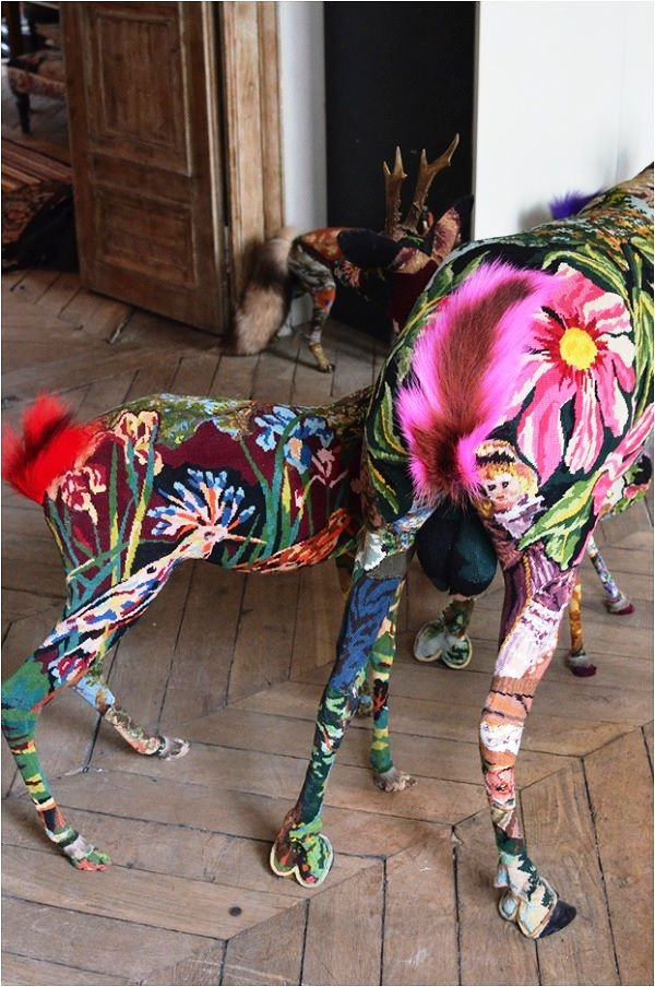 Frédérique Morrel Tapestry Taxidermy - a look at the artist's home and studio, Image Source Tracy Lee Lynch
