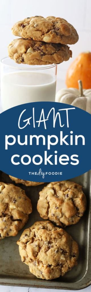 It's time to bring out these Giant Pumpkin Spice Cookies! They are chewy, not cakey, packed with chocolate chips, and of course, pumpkin spice!!