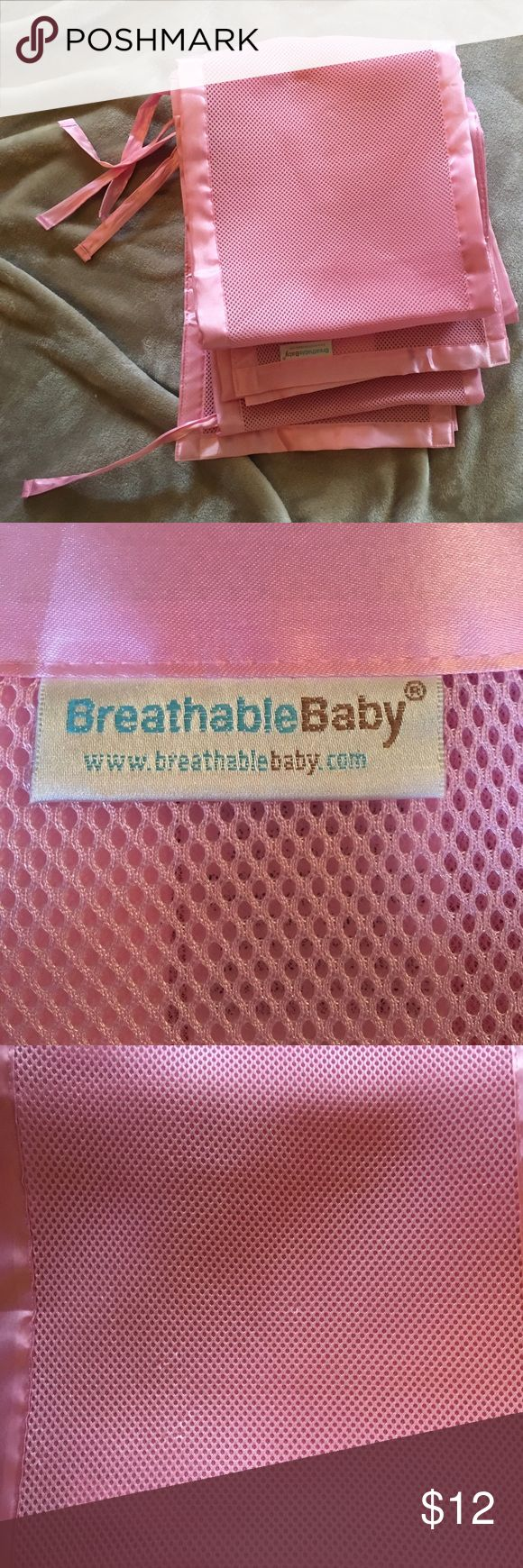 Breatheable Baby mesh crib bumper Barely used crib bumper.. Slight wear as shown in last 2 photos.. Any questions please ask 🎀 Breathable Baby Other