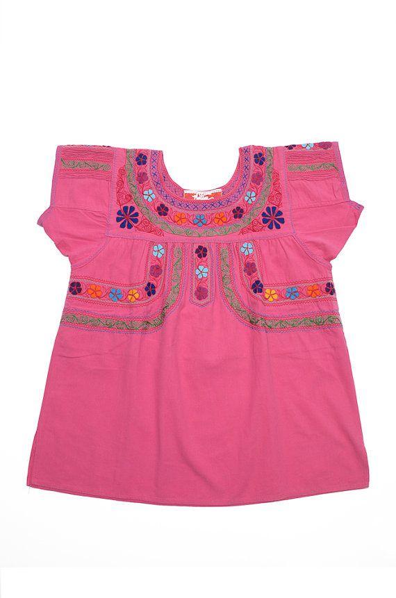 Handmade and Hand Embroidered Hot Pink Angula Blouse via Etsy