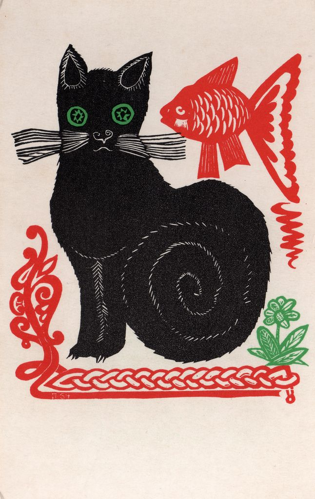 Cats in Art and Illusyration: Cat and fish | Russian lubok folk style print | by Viktor Penzin
