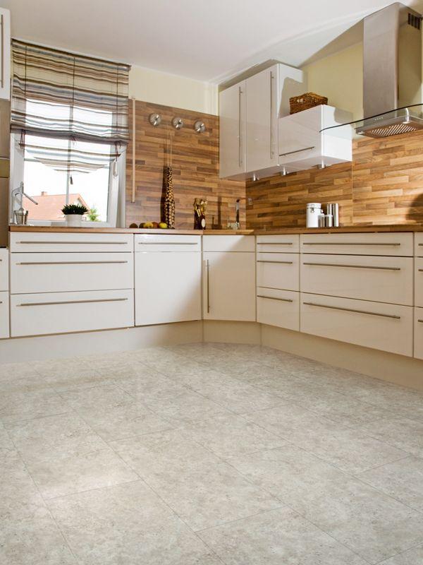 Luxury Limestone Effect Vinyl Tiles In A Modern Kitchen Luxury Vinyl Flooring Luxury Vinyl Tile Flooring Vinyl Flooring Bathroom