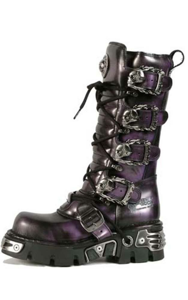 New Rock Purple Boots with Skull and Flame Buckles