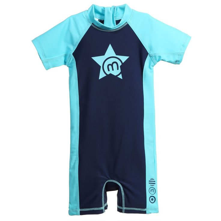 Unisex navy blue all in one sun protection suit byMinymowith bright turquoise trims and a star print on the front. Made from soft, stretchy classic swimsuit fabric, this high sun protection suit has a chunky zip closure at the back of the neck and short sleeves and legs, with sporty feel.<br /> <ul> <li>SPF 50+</li> <li>80% polyamide, 20% elastane (soft & stretchy)</li> <li>Hand wash</li> <li>Suitable for both boys & girls</li> </ul>