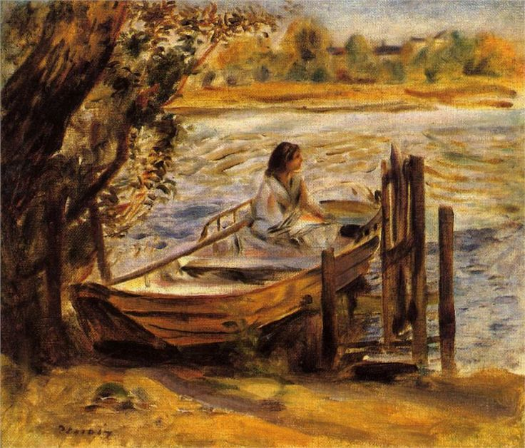 """""""Young Woman in a Boat"""" (Lise Trehot)  Artist: Pierre-Auguste Renoir  Completion Date: 1870  Style: Impressionism  Period: Association with Impressionists  Genre: genre painting  Technique: oil"""