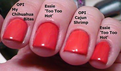 OPI My Chihuahua Bites vs Essie Too Too Hot vs OPI Cajun Shrimp