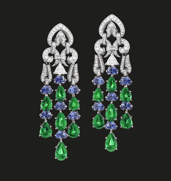 Sapphire, Emerald and Diamond Earrings | Magnificent emeralds and sapphires suspended from an exquisite oriental diamond design.  Emeralds 19.58 cts Sapphires 10.26 cts Diamonds 4.29 cts  #tabbah #houseoftabbah