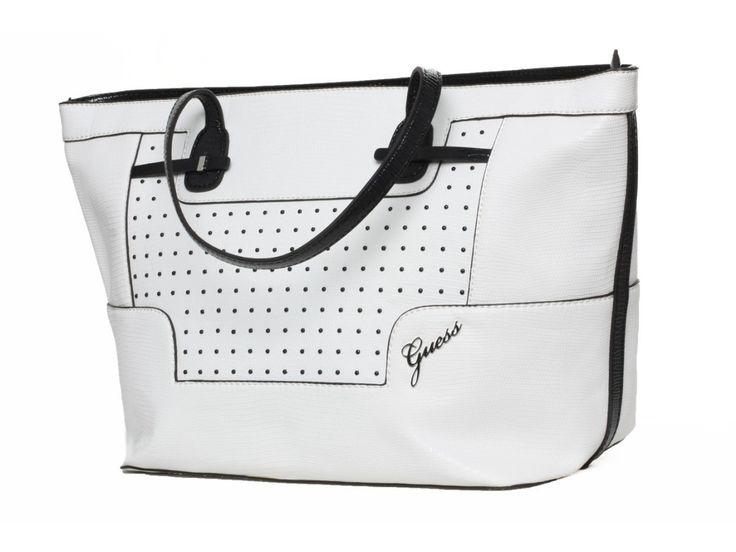 Dámská bílá kabelka GUESS, s černými detaily - 100062113 | obujsi.cz - dámská, pánská, dětská obuv a boty online, kabelky, módní doplňky