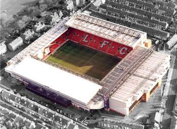 Anfield.  Liverpool, England.  Home of Liverpool FC.  In my very biased opinion the greatest stadium of all time.  Maybe not the most beautiful stadium to look at from above but the atmosphere is out of this world.  The history is fantastic, it was built in 1884.