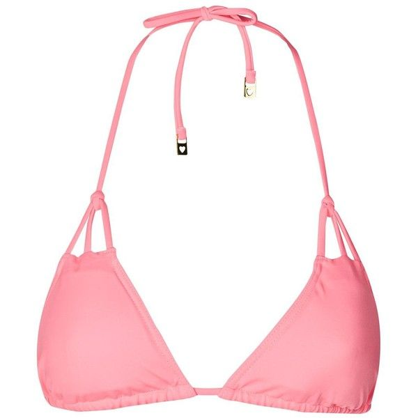 Topshop Strappy Triangle Bikini Top ($16) ❤ liked on Polyvore featuring swimwear, bikinis, bikini tops, pink, strappy halter bikini top, halter tankini top, tankini swim tops, pink triangle bikini and halter swim top
