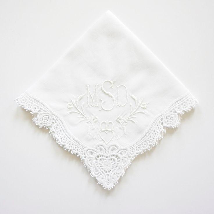 Irish Claddagh Cluny Lace Handkerchief, Embroidered Monogrammed Wedding Handkerchief