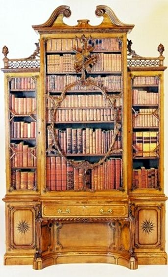 by Thomas Chippendale & Son. The violin bookcase at Wilton House. It was made for the 10th Earl of Pembroke and is one of Thomas Chippendale's most famous pieces of furniture