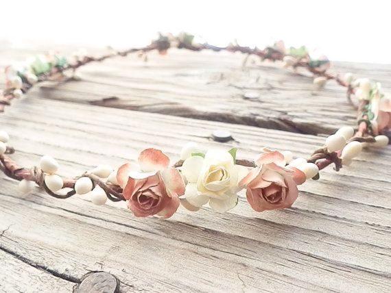 Rustic and chic woodland flower crown. This head piece would make a wonderful addition to your wedding attire. Crafted from handmade mini
