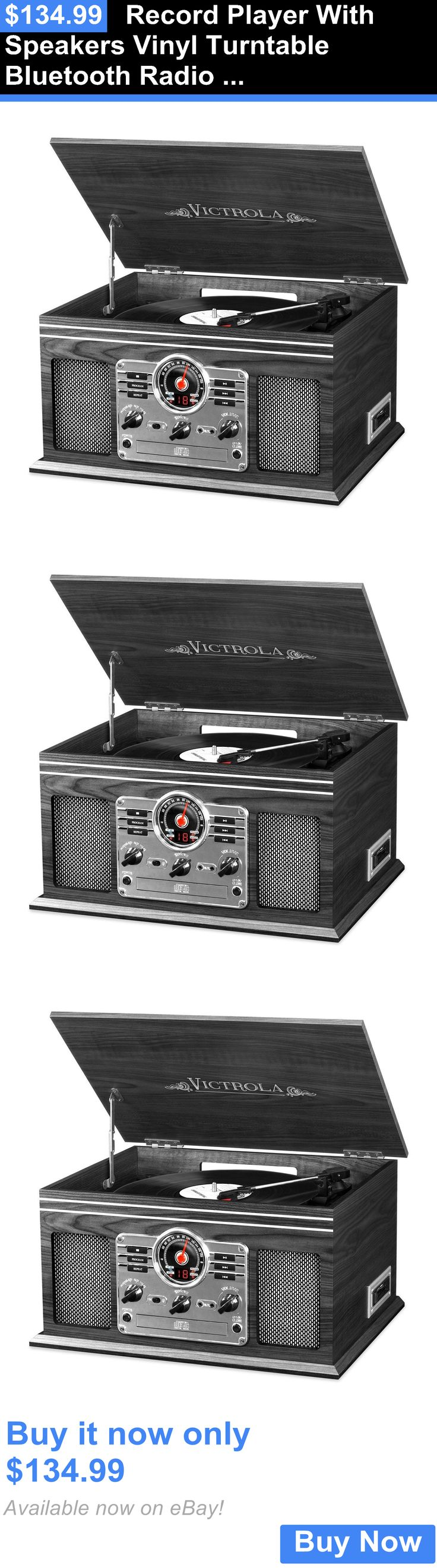 Record Players Home Turntables: Record Player With Speakers Vinyl Turntable Bluetooth Radio Casette Cd New BUY IT NOW ONLY: $134.99