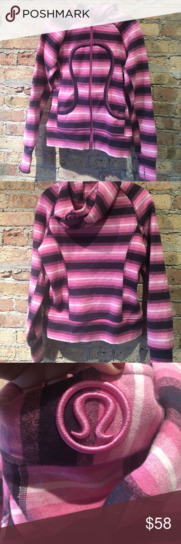 Lululemon pink/purple/white zip up hoodie size 6 Lululemon pink/purple/white striped zip up hoodie size 6. Preloved in great condition. 55497 lululemon athletica Jackets & Coats