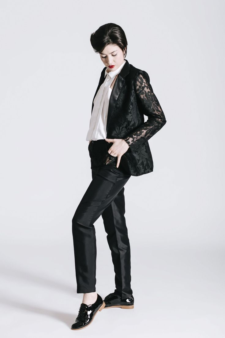 Androgynous Style. Wedding outfit. Lace sleeve. Women's shirt. Same-sex wedding idea.