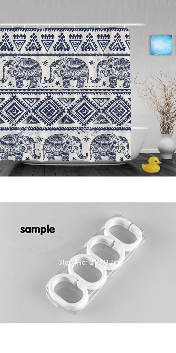 [Visit to Buy] Morden Pattern African Designed Elephant Shower Cutains Animal Decor Bathroom Curtains Polyester Waterproof Fabric With Hooks #Advertisement