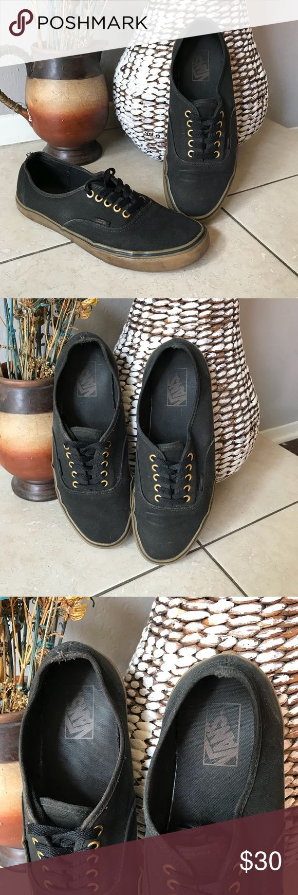 Vans Authentic Gum Sole Sneaker Black and brown Vans gum sole authentic sneakers. In good used condition with signs of wear as shown in photos!   Men's size 10  Same day shipping! Vans Shoes Sneakers
