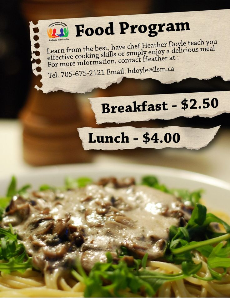 Food program promotion flyer created for Independent Living by Melissa Messner - Portfolio material