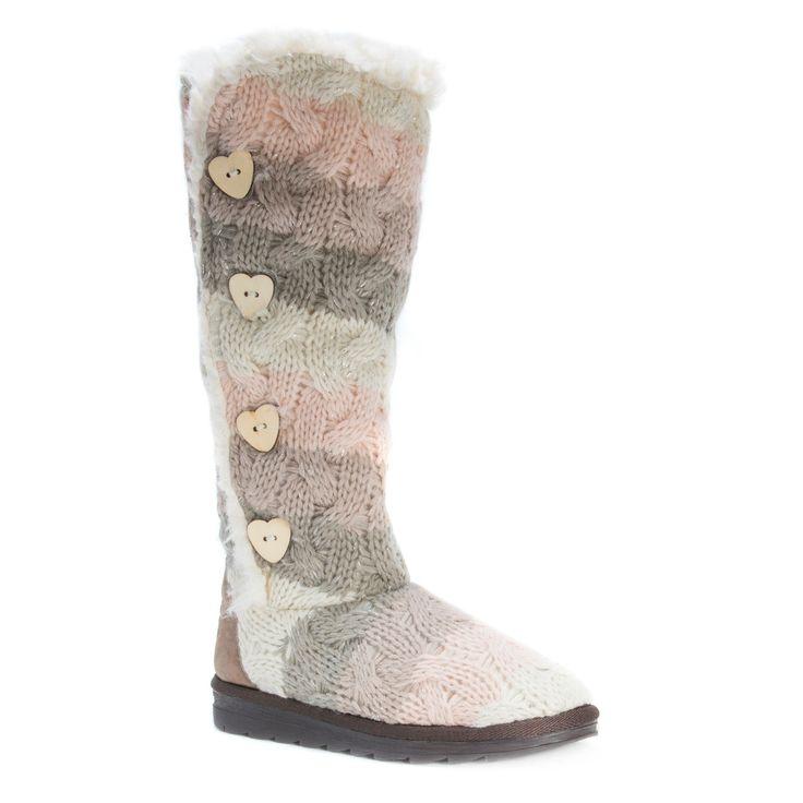 Women's Muk Luks Felicity Stripe Print Shearling Boots - 11, Multicolored