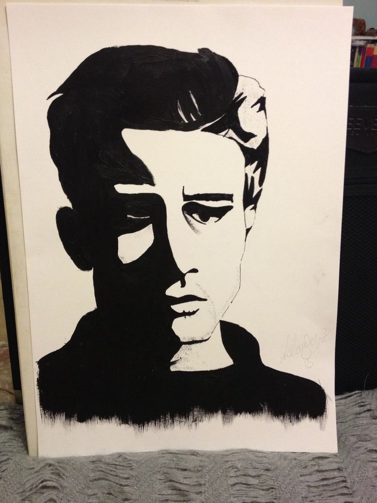 James dean, black and white acrylic