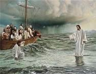 """'But Jesus immediately said to them: """"Take courage! It is I. Don't be afraid""""...Immediately Jesus reached out his hand and caught him. Then Peter got down out of the boat, walked on the water and came toward Jesus. (30) But when he saw the wind, he was afraid and, beginning to sink, cried out, """"Lord, save me!"""" You of little faith,"""" he said, """"why did you doubt?""""' Matthew 14:22-33"""