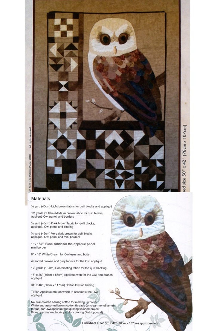 Block Barn Owl - pattern by Susan Filer, The Pattern Place
