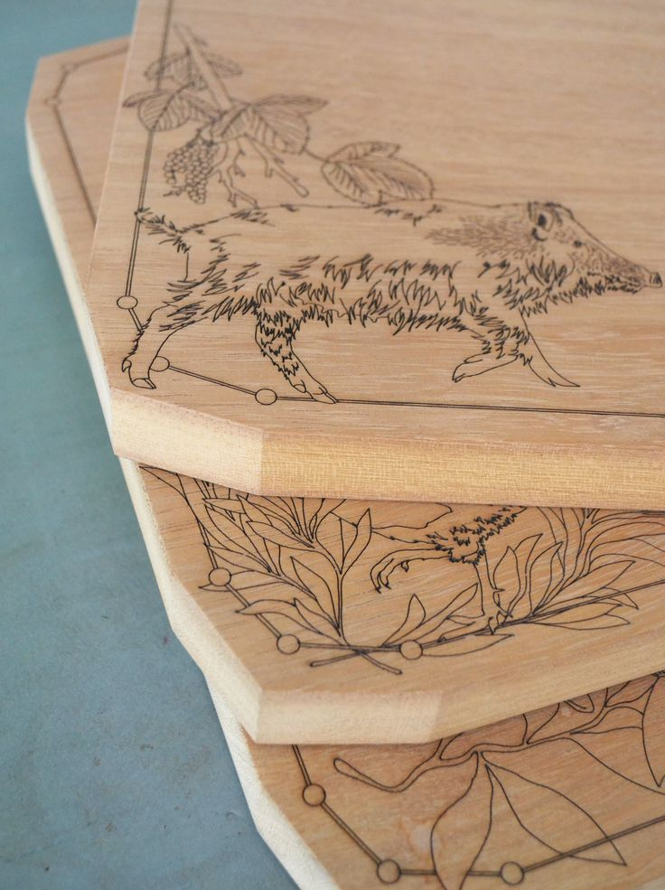 Boar & Redcurrant Iroko Chopping Boards for Holly's House| Daniel Heath