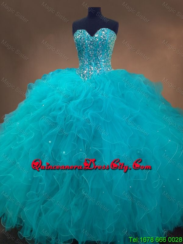 quinceaneradresscity.com offers cheap Elegant Beaded and Ruffles Quinceanera Gowns in Aqua Blue,Priced At US$169.88