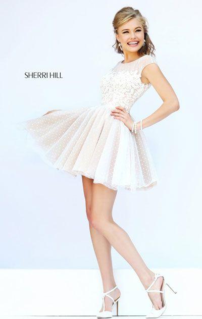 Ivory/Nude Beading V-Back 2015 Sherri Hill 11267 Short Bodice Prom Dress
