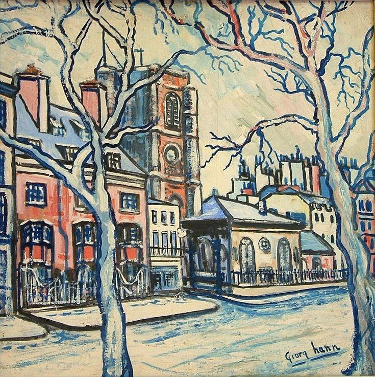 George Hann (20th C.) Winter town scene 18 x 18in.