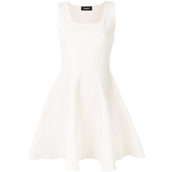 Dsquared2 skater dress (8029465 PYG) ❤ liked on Polyvore featuring dresses, white, short flared dresses, flared dress, skater dresses, stretchy dresses and white flare dress