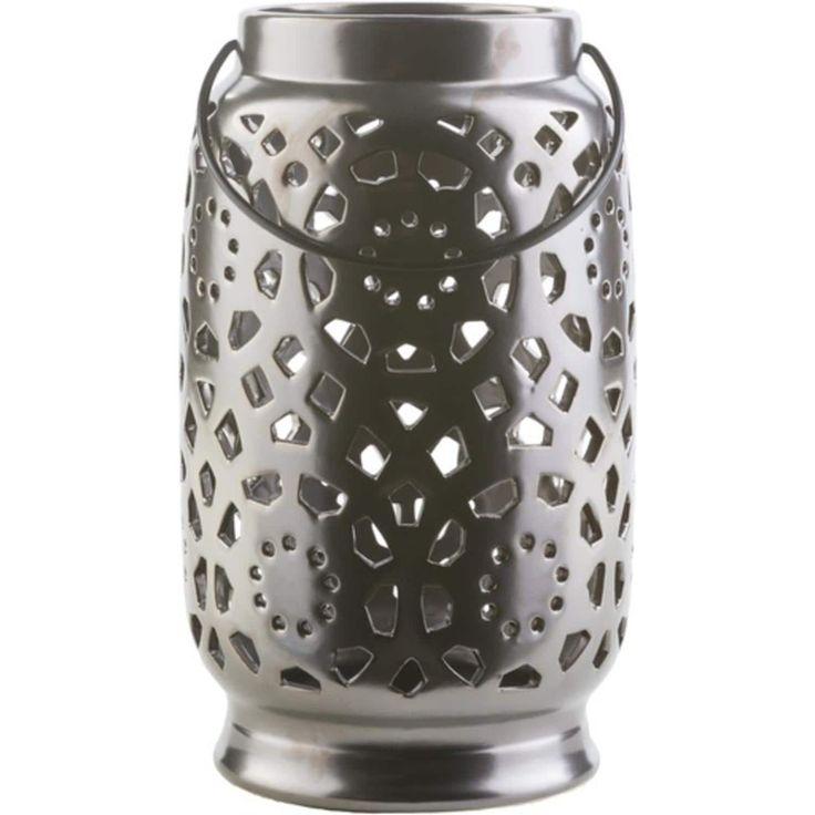 11 Madison Links Ebony Black Ceramic Large Pillar Candle Holder Lantern