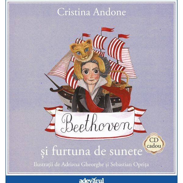 Beethoven si furtuna de sunete - Carte + CD; Crsitina Andone, Adriana Gheorghe, Sebastian Oprita; Varsta:3+; Beethoven este cel mai puternic și mai curajos spiriduș din Pădurea Muzicală. Locuiește într-un stejar bătrân din vârful Colinei Majore. Acolo, între stâncile pe care doar caprele sălbatice se pot cățăra, se înalță căsuța sa în formă de turn.