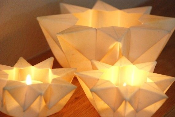 Three Lunar White Waldorf Star Lanterns by greenbaboondesigns, 15.00 hmmm centerpiece idea?