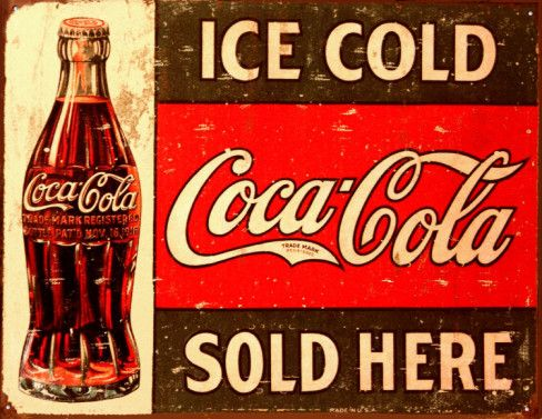 Vintage Coca Cola Signs - This tin sign will make a great addition to any kitchen that is looking for a vintage feel!  Vintage Coca Cola Sign is made to look weathered.  16 x 12.5 inches - $12.99