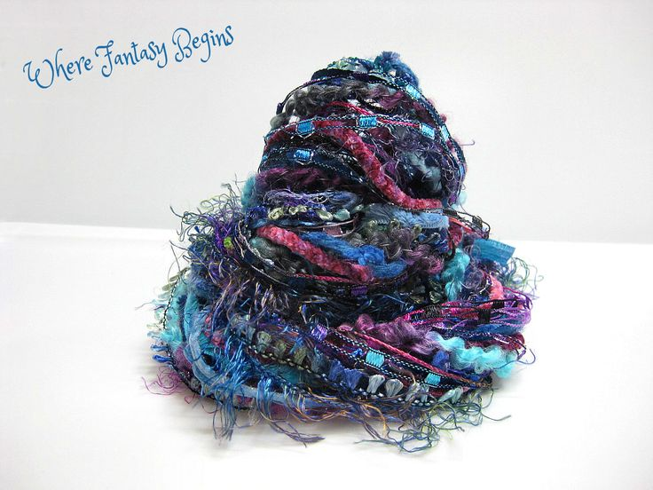 Fantasy Peacock Ribbon Yarn Fiber Set, DIY Crafting, 34 yards Specialty Art Yarn Ribbon Bundle, Dreamcatcher Fibers, Embellishment Trim kit by WhereFantasyBegins on Etsy