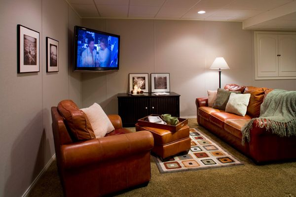 Have a small basement space? Add a cozy living room area. #basementideas