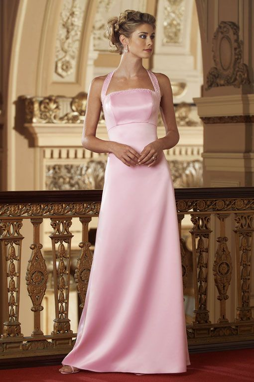<3JS  Halter A-line with beading embellishment satin Maid of Honor dress.  My favorite.