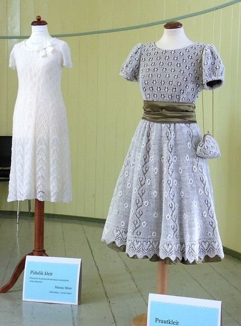 Wow. just wow. I wonder if these are from Haapsalu, perhaps in the museum? the walls look familiar.Knitted dresses from Estonia.