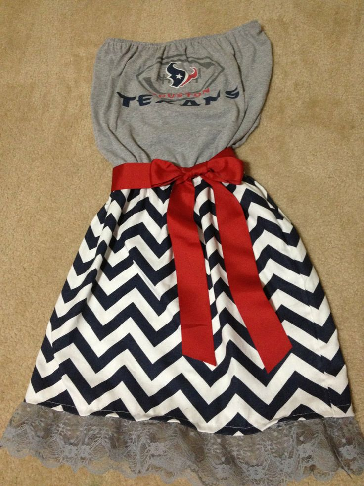 Chevron Game day dress Houston Texans by SassyShoos on Etsy, this would be so cute for sam done with the patriots