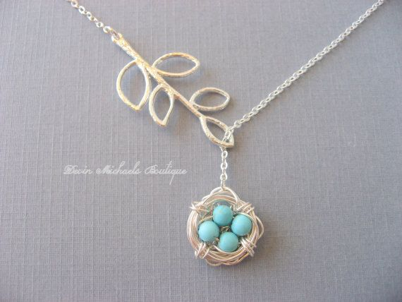 Mothers Day Necklace, Silver Bird Nest Necklace, Silver Lariat Branch Necklace, Turquoise Necklace by DevinMichaels on Etsy https://www.etsy.com/listing/124887411/mothers-day-necklace-silver-bird-nest