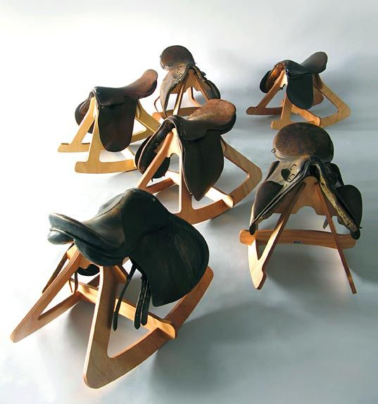 Giddy Up Rocking Stool Tim Wigmore Design sustainable rocker repurposed saddles kids nursery products design