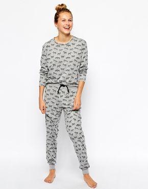 Chelsea Peers Zebra Lounge Top & Lounge Pants Set