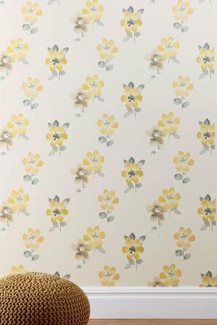 Buy Ochre Watercolour Bloom Wallpaper from the Next UK online shop