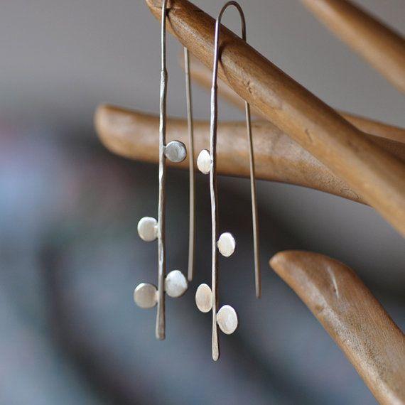 silver thread earrings