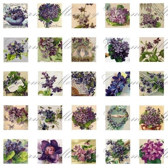 Violets Digital Collage Sheet ON SALE / by CharmedMemoryCollage