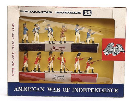 Britains - Swoppets - American War of Independence - 7385 - Infantry Display Set, comprising: 6 x British and 6 x American: http://www.michtoy.com/spip-3-0-5/?Rvolutionary-War-Toy-Soldiers-More