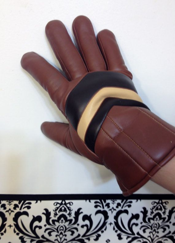 1980's Dark Tan Chevron Men's Hipster Gloves by RetrosaurusRex