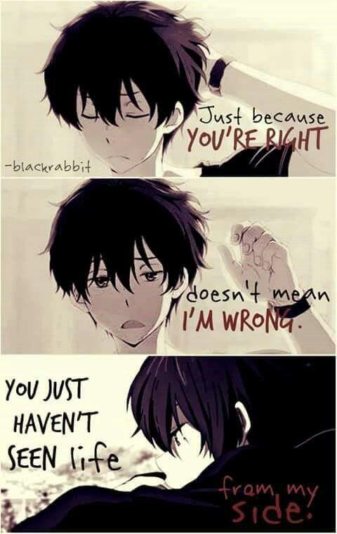 Anime: Hyouka Sólo porque tienes razón no significa que estoy equivocado Simplemente no has visto la vida de mi lado